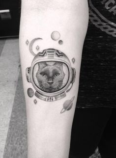Astronaut Cat Tattoo by Doctor Woo