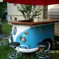 Who doesn't love a VW bus, whether in the form of a camper or a bar? Shared by www.highroadorganizers.com
