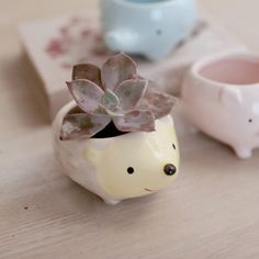 pots vases Picture - More Detailed Picture about Kawaii Little Animals Ceramic Flowerpot Succulent Plants Flower Pot Ceramic Succulent Pots Vases Mini Ornaments Home Decro Picture in Flower Pots & Planters from Cindy's Professional ZAKKA Store Ceramics Projects, Clay Projects, Ceramic Pottery, Ceramic Art, Succulent Pots, Succulents, Pot Plante, Pottery Classes, Ceramic Animals