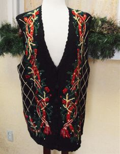 Tiara Christmas Embellished Garland Sweater Vest 14/16 Multi Ugly? Party NEW #Tiara #VestSleeveless #Christmas