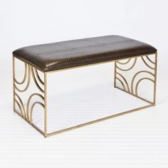 Zoe Gold Leafed Bench w. Brown Faux Croc Upholstery  #WorldsAway