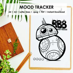 Bullet Journal Notebook, Bullet Journal Spread, Journal Template, Bb8, Mood Tracker, Journal Stickers, Disney Star Wars, Monthly Planner, Bullet Journal Inspiration