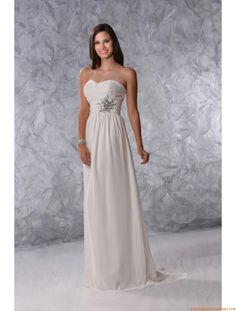 Robe de mariée mousseline empire application sans bretlles