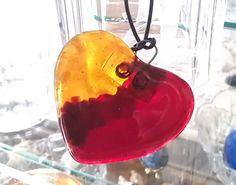 HeartShaped Suncatcher in Red Carnelian and by GlitterbirdGlass, $25.00 #Glass #suncatcher #heart shaped