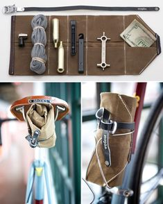 Did you know that May is National Bike Month? In case you needed another reason to trick out your bike, we're all about celebrating much more than a month of goodness on two wheels. Here are 40 innovative, fun, and downright good-looking gadgets that'll d Cool Bicycles, Cool Bikes, Vintage Bicycles, National Bike Month, Bike Gadgets, Bike Tools, Tool Roll, Pedal, Urban Survival