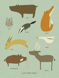 All Kinds of Animals A print by Katrin Wiehle. Details: / 12 x 16 inches which includes a small white border / printed on 100 lb textured paper / standard size, easy to frame / ships flat in a protective sleeve Printed in the USA. Couple Illustration, Children's Book Illustration, Badger Illustration, Drawing For Kids, Art For Kids, Illustration Inspiration, Art Graphique, Kids Prints, Cute Characters