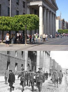 Troops from The Dublin Fusiliers pass the GPO after the rising. The scene today is a lot more tranquil. Ireland 1916, Dublin Ireland, Then And Now Pictures, Old Pictures, General Post Office, Dublin Street, Easter Rising, Ireland Homes, The Far Side