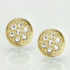 SUPER CHIC GOLD CRYSTAL PAVE STUDS Gorgeous and super chic! Hammered gold crystal pave studs! Street chic and fabulous! 8mm shopjewelry  Jewelry