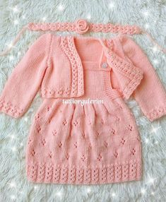 Crochet Baby Cardigan Free Pattern, Layette Pattern, Crochet Baby Jacket, Knit Baby Dress, Baby Knitting Patterns, Knitting Designs, Baby Girl Patterns, Baby Girl Skirts, Baby Sweaters