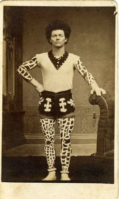 ca. 1870-1900, [carte de visite portrait of circus performer in an unusual costume] via Jeffrey Kraus, Antique Photographics
