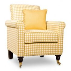 Yellow houndstooth chair. A pair of these would look great in our family room.