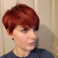 New pixie haircut ideas in 2019 hair to wear short red hair, Haircuts For Fine Hair, Short Pixie Haircuts, Bob Hairstyles, Red Pixie Haircut, Pixie Bangs, Fashion Hairstyles, Trendy Hairstyles, Wedding Hairstyles, Edgy Pixie Cuts