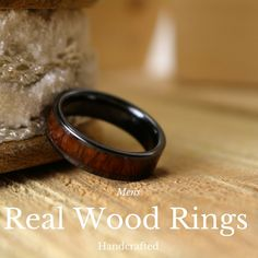 6mm flat ceramic wood wedding ring! This is a beautiful mens wood wedding ring! This mens rings has been handcrafted and it comes from Hawaii.