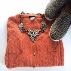 $10 Final J. Crew Pumpkin Orange Cable Cardigan XS ❌NO TRADES❌  - J. Crew Pumpkin Orange Long Sleeve Cable Cardigan Sweater Sz XS   - Pumpkin Orange Cable Knit Crew Neck Cardigan Sweater w/ Golden Buttons  - 55% Wool, 30% Nylon, 15% Cashmere   - Used condition. Pilling throughout J. Crew Sweaters Cardigans Cable Cardigan, Cable Knit, Sweater Cardigan, Orange Blazer, Cardigans, Sweaters, Fashion Tips, Fashion Design, Fashion Trends