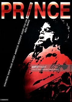 Movie poster advertises the Czech release of 'Prince - Sign 'o' the Times' a concert film starring Prince and Sheila E, Rotterdam, Netherlands, 1987.