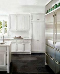 White Kitchen with gray floor