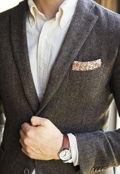 Dark grey herringbone tweed jacket, cream OCBD