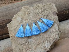 5pcs Clear Blue Skies Silk Tassels Handmade tassels by midgetgems, $5.00