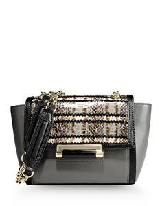 Diane von Furstenberg: Snakeskin & Leather Mini Shoulder Bag