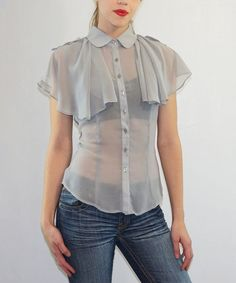 Another great find on #zulily! Gray Lace-Back Button-Up Top - Women #zulilyfinds