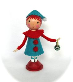 Clothespin Doll Christmas Elf Red And Aqua by cottoncandydolls, $30.00