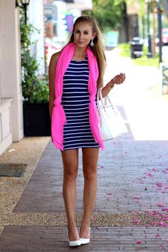 Navy striped bodycon dress and a neon pink gauze scarf