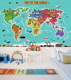 Children's World Map Wallpaper Animal Wall Decal Art by DreamyWall