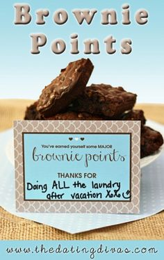 Adorable FREE printable to attach to a batch of brownies as a sweet thank you! www.TheDatingDivas.com #freeprintable #lovenotes