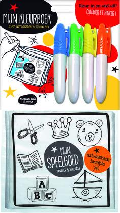Het uitwasbare kleurboek kan keer op keer weer opnieuw ingekleurd worden met bijgeleverde stiften.