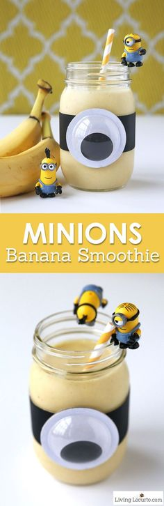 A Minions Banana Smoothie is a healthy treat for kids! Fun food snack recipe for a Minions themed birthday party, quick breakfast or after school snack. Easy Mason Jar craft. LivingLocurto.com: