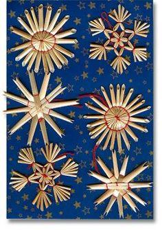 Straw Star Ornaments - 6 Assorted