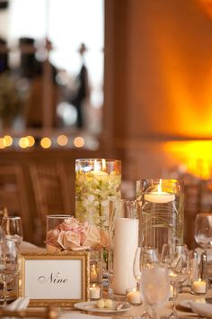 Centrepieces feature candles and pink and white submerged flowers at a luxe Bryant Bryant Dewey Seasons Resort Palm Beach reception. Candle Centerpieces, Wedding Centerpieces, Wedding Table, Wedding Walkway, Centerpiece Ideas, Wedding Reception, Wedding Dress, Ocean View Wedding, Palm Beach Wedding