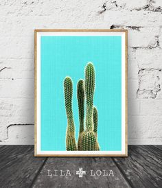 Cactus Wall Art, Turquoise Decor, Mexican, Arizona, South Western, Desert, Art Print, Cactus Wall Art, Printable Art, Minimalist Blue Print