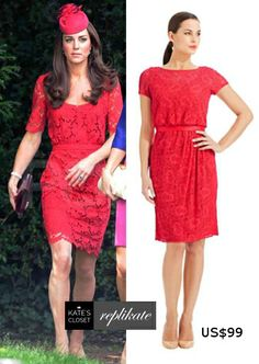 Kate Middleton Style Inspiration. SHOP repliKates of the Collette Dinnigan red lace dress