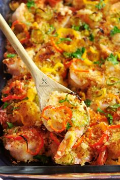 This recipe features a crispy layer of bread crumbs combined with spicy and sweet peppers on top of perfectly baked shrimp with a garlicky kick.