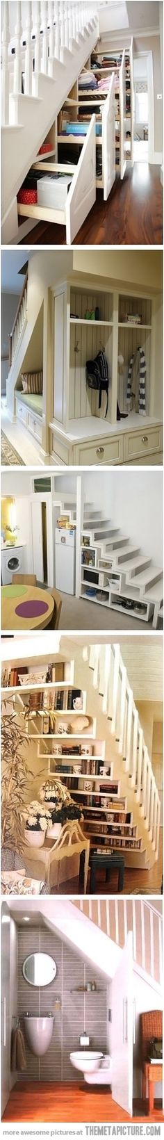 Brilliant ideas for under the stairs…love the shelv