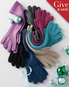 while i ♥ my handknit gloves, those turquoise stripey ones are adorable! $29 at Garnet Hill