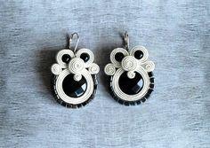 Black white classic soutache earrings Embroidered by ShoShanaArt, $34.00
