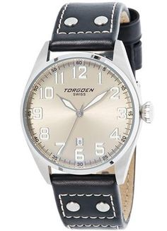 Torgoen T28102 stainless steel watch with a sunray cream dial, luminescent hands and indexes on a brown leather band with rivets.
