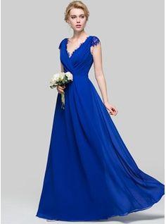 A-Line/Princess V-neck Floor-Length Chiffon Bridesmaid Dress With Ruffle (007090176)