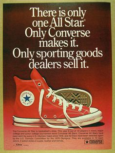 1973 Converse ALL-STAR Chuck Taylor red hi-top shoes photo vintage print Ad