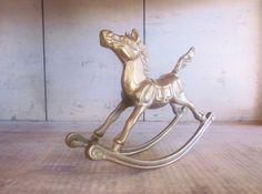 Vintage Brass Rocking Horse Figurine Child by LittleRedPolkaDots, $18.00
