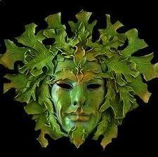 Idea for clay additions to Carnaval masks. Nature Spirits, Carnival Masks, Venetian Masks, Edgar Allan Poe, Shades Of Green, Masquerade, Lion Sculpture, Tree Sculpture, Garden Sculpture