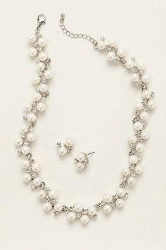 Pearl Rhinestone Vine Necklace and Earring Set 72187N