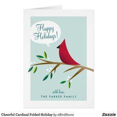 Cheerful Cardinal Folded Holiday
