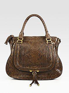 Chloe - Marcie Large Python Shoulder Bag