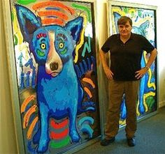 Artist George Rodrigue and unrealistically painted pets