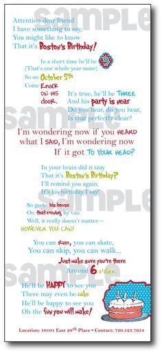 Cute Dr. Seuss invitation