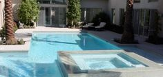 It's ok to stray away from freeform pool designs , especially when the team behind the design is Anthony & Sylvan. The expert pool building team used precision to provide a modern, chic styled swimming pool in Las Vegas.   #swimmingpools #bestpooldesign #modernpooldesign  http://www.anthonysylvan.com/pools-options.asp