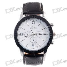Stylish Tachometer Water Resistent Watch with PU Leather Belt